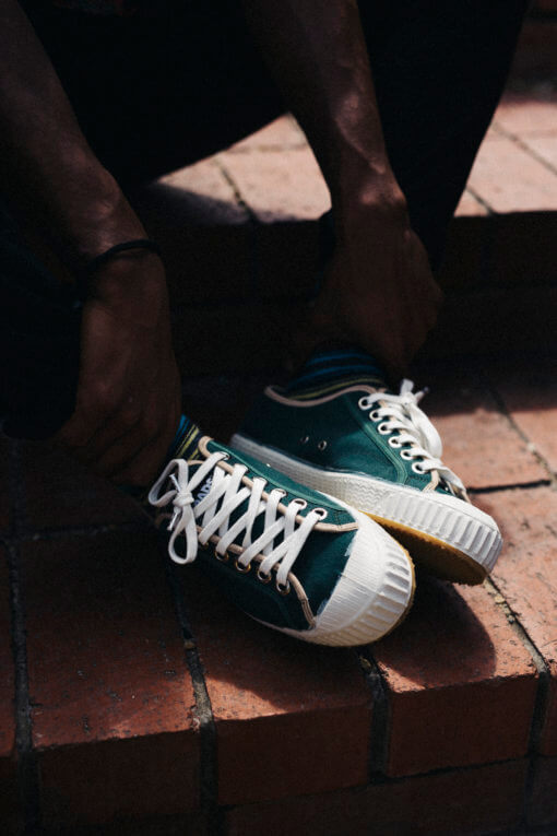 Spartak Clover sneakers in a green/beige color with white midpart and camel rubber sole and white laces